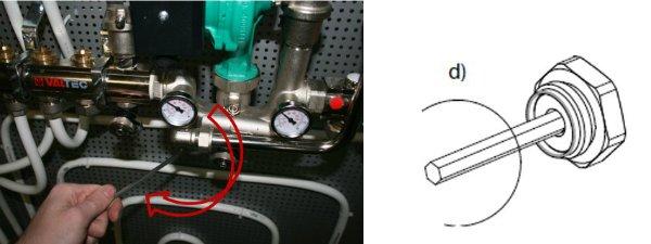 При помощи шестигранного ключа открыть клапан до упора. Клапан откроется ровно настолько, насколько сколько вы сделали оборотов отвёрткой