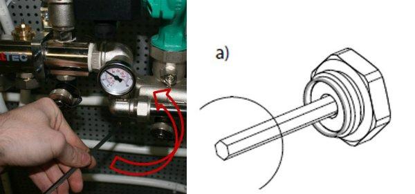 Закрыть полностью балансировочный клапан при помощи шестигранника