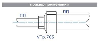 пример применения полипропиленовой переходной муфты vtp.705